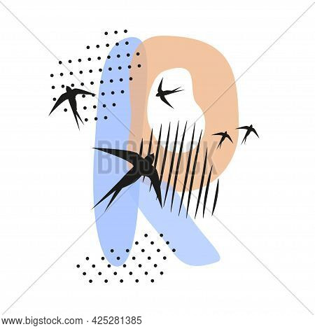 Minimalistic Pattern An Oriental Style In Form Of Letter R. Flock Of Swallows Flies. Abstract Object