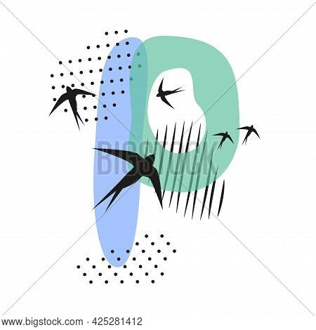 Minimalistic Pattern An Oriental Style In Form Of Letter P. Flock Of Swallows Flies. Abstract Object