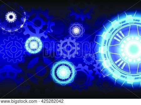 Blue light neon. Abstract gear digital hi-tech background. Virtual reality technology screen. Futuristic interface