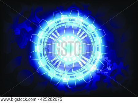 Blue light neon. Abstract gear digital hi-tech background. Futuristic interface. Virtual reality technology screen