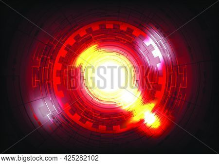 Glowing Hud circle. Abstract hi-tech red background. Futuristic interface. Virtual reality technology screen