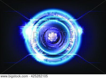 Glowing HUD circle. Blue light effect. Abstract hi-tech background. Futuristic interface. Virtual reality technology screen