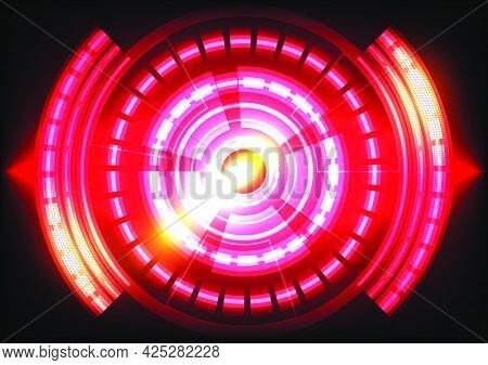 Red light. Abstract hi-tech background. Futuristic interface. Virtual reality technology screen