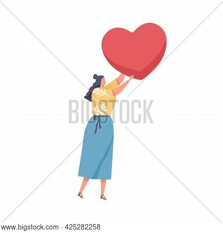 Human Holding Big Red Heart In Hand As Symbol Of Love. Concept Of Charity, Hope, Solidarity And Comp