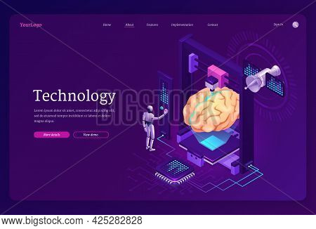 Technology Isometric Landing Page, Ai Robot Printing Huge Human Brain On 3d Printer With Microcircui