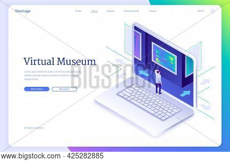 Virtual Museum Isometric Landing Page. Online Exhibition Digital Tour To Art Gallery, Tiny Character