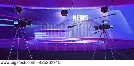 Tv News Studio, Television Broadcast Room Interior With Round Table And Earth Globe On Screen. Video