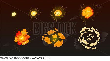 Cartoon Bomb Explosion Storyboard. Clouds, Boom And Smoke Animation Frame For Mobile Game. Dynamite
