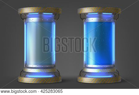 Cryonics Capsules, Empty And Full Futuristic Containers, Glass Tubes With Cryogenic Liquid For Hiber