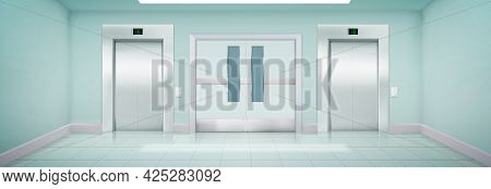 Elevators And Door In Hospital, Clinic, House Or Laboratory Corridor. Empty Interior With Closed Lif