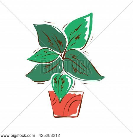 Flower In A Pot Hand-drawn Illustration On A White Background. Vector.
