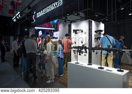 Moscow Region, Russia - August 25, 2019: Visitors View New Small Arms In The Pavilion Of The Kalashn