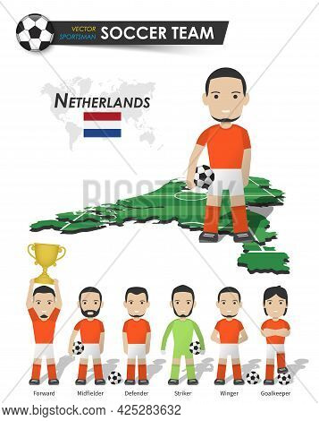 Netherlands National Soccer Cup Team . Football Player With Sports Jersey Stand On Perspective Field