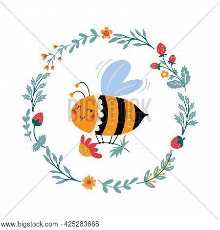 Vector Honeybee In Cartoon Style Sweet Bumblebee