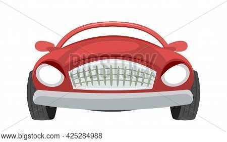 Car. Cartoon Comic Funny Style. Front View. Red Automobile. Auto In Flat Design. Cabriolet. Children