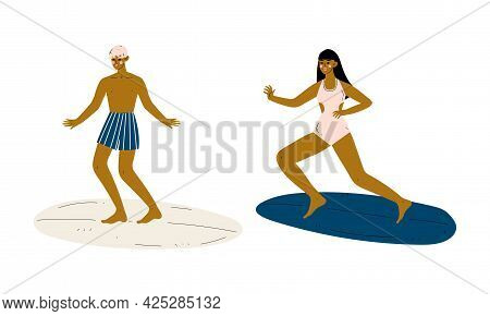Man And Woman Surfer With Surfboard Riding On Moving Wave Vector Set