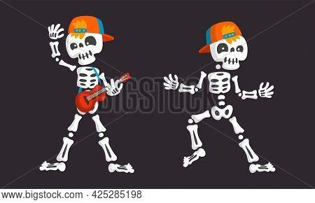 Bony Skeleton Character Waving Limb And Playing Guitar Vector Set