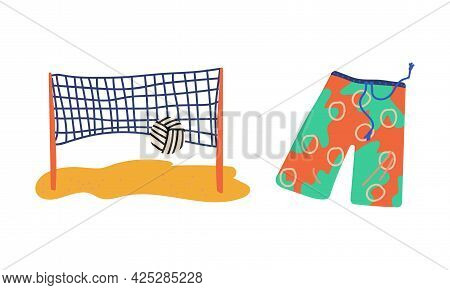 Summer Holiday And Beach Resort Symbols With Volleyball Net And Shorts Vector Set