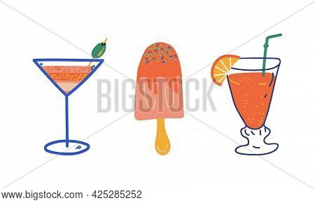 Summer Holiday And Beach Resort Symbols With Refreshing Cocktail And Ice Cream Vector Set