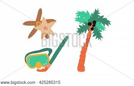 Summer Holiday And Beach Resort Symbols With Snorkeling Mask And Palm Tree Vector Set