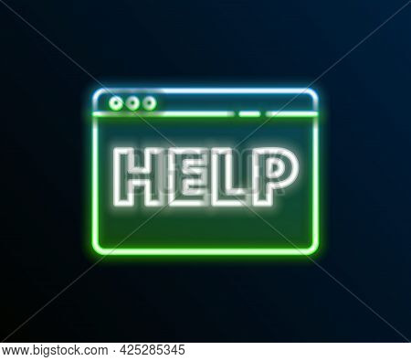 Glowing Neon Line Browser Help Icon Isolated On Black Background. Internet Communication Protocol. C