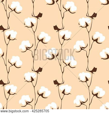 Cotton Flower Seamless Pattern. Abstract White Floral Shape In Doodle Style. Used For For Wedding In