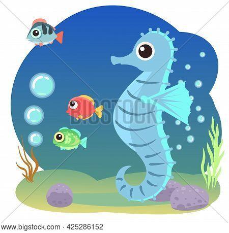 Little Landscape. Sea Horse. Underwater Life. Wild Animals. Ocean, Sea. Summer Water. Isolated On Wh