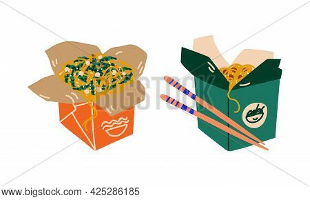 Stir-fried Prepared Udon Noodle Served In Carton Box For Takeaway Vector Set