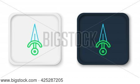 Line Dagger Icon Isolated On White Background. Knife Icon. Sword With Sharp Blade. Colorful Outline