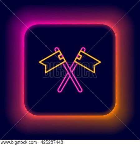 Glowing Neon Line Crossed Medieval Flag Icon Isolated On Black Background. Country, State, Or Territ