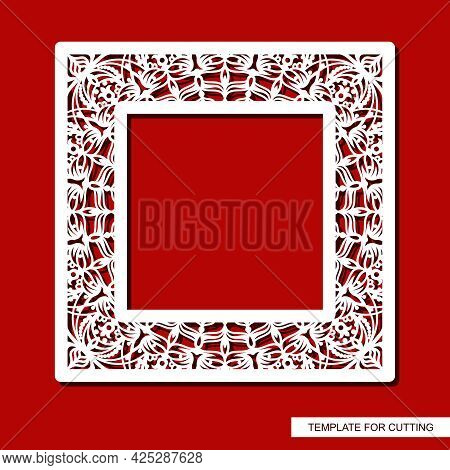 Square Photo Frame With A Carved Pattern. Openwork Border With Floral Ornaments, Curls. Oriental, In