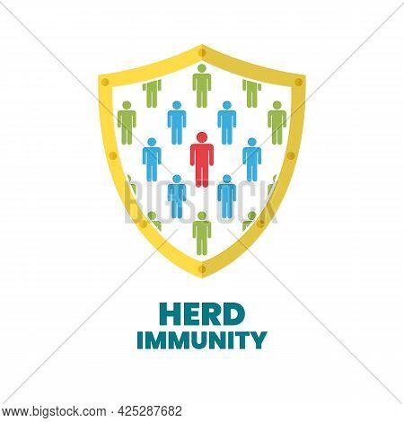 Group Of People With Herd Immunity Agains Virus Bacteria In Shield Symbol.  Coronavirus Covid Preven
