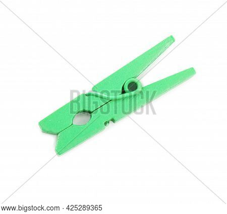 Bright Green Wooden Clothespin Isolated On White