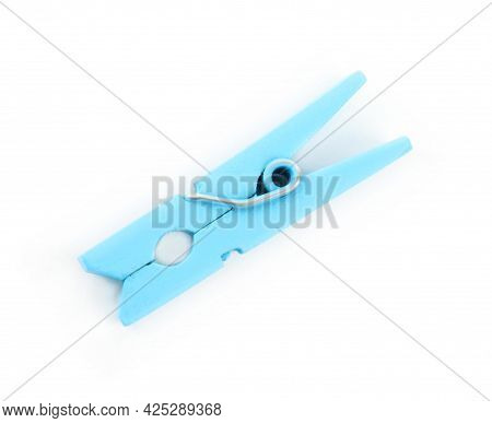 Bright Light Blue Wooden Clothespin Isolated On White