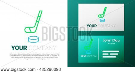 Line Ice Hockey Stick And Puck Icon Isolated On White Background. Colorful Outline Concept. Vector