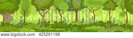 Summer Forest Landscape. Nature Illustration. Dense Foliage, Shrubs And A Clearing At The Edge. Ligh