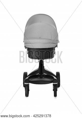 Baby Carriage. Modern Pram Isolated On White