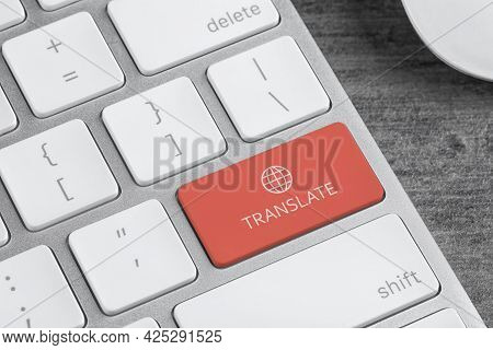 Modern Computer Keyboard With Button For Quick Translation, Closeup