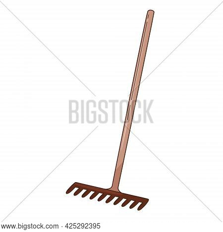 Rake For Loosening The Ground And Collecting Leaves. Garden Tools, A Symbol Of Autumn. Decorative El