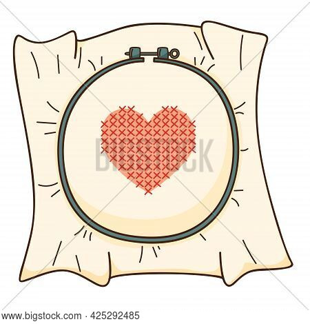 Embroidery On The Hoop. A Red Heart Embroidered With A Cross. Needlework. Design Element With Outlin