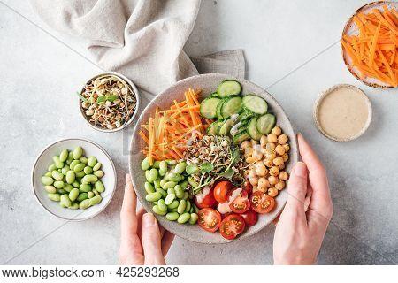 Buddha Bowl, Vegan Balanced Meal With Beans