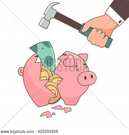 The Piggy Bank Is Empty And Cracked, Broken. Vector Illustration In A Flat Style. The Concept Of Lac