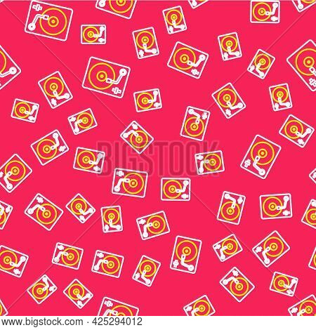 Line Vinyl Player With A Vinyl Disk Icon Isolated Seamless Pattern On Red Background. Vector