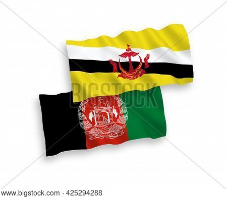 National Fabric Wave Flags Of Brunei And Islamic Republic Of Afghanistan Isolated On White Backgroun