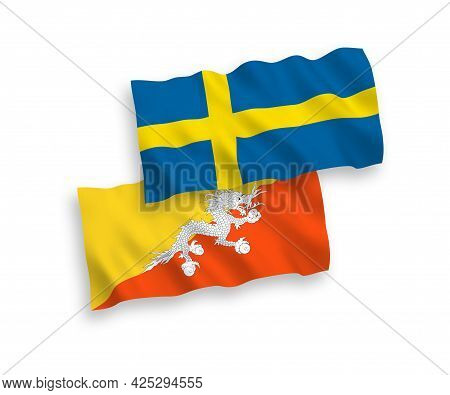National Fabric Wave Flags Of Sweden And Kingdom Of Bhutan Isolated On White Background. 1 To 2 Prop