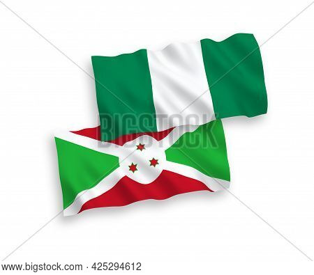 National Fabric Wave Flags Of Burundi And Nigeria Isolated On White Background. 1 To 2 Proportion.
