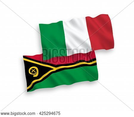 National Fabric Wave Flags Of Italy And Republic Of Vanuatu Isolated On White Background. 1 To 2 Pro