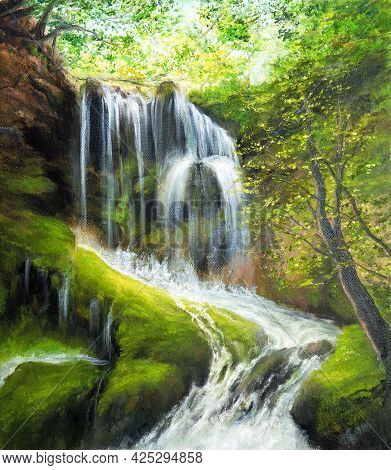 Original  Oil Painting Of Beautifl Spring Landscape,waterfall In The Forest On Canvas.modern Impress