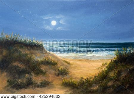 Original  Oil Painting Of Ocean Beach Dunes In The Night.moon And Stars On Canvas.modern Impressioni