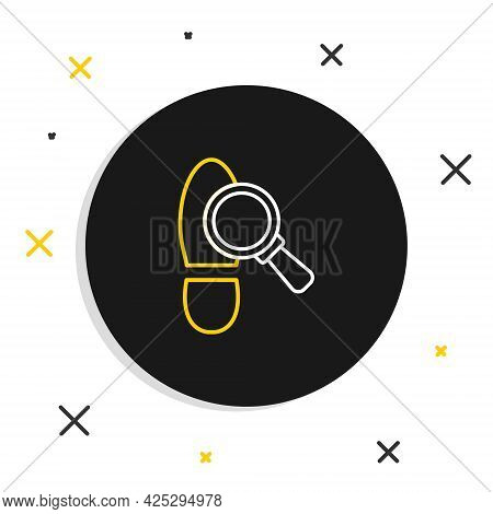 Line Magnifying Glass With Footsteps Icon Isolated On White Background. Detective Is Investigating.